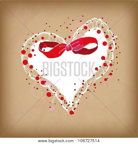 Red And White Colors Heart With Bow