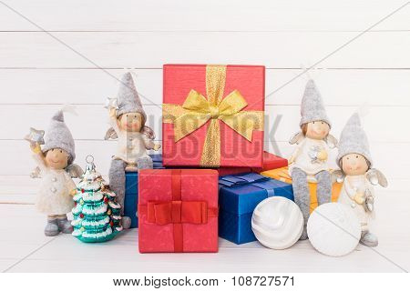 Christmas Composition With Red Gift Boxes
