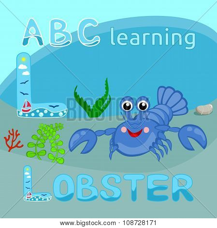 L Is For Lobster L letter Blue lobster vector Funny cartoon character Happy crayfish Ocean fauna, Cr