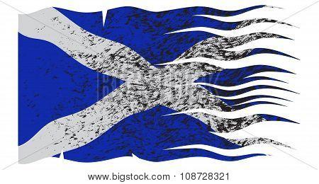 Wavy Scotland Flag Grunged