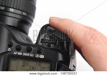 Finger Is Near The Trigger Button Is Digital Camera Close Up