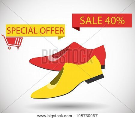 Sale Shoes. Discount Of 40 Percent. Special Offer.