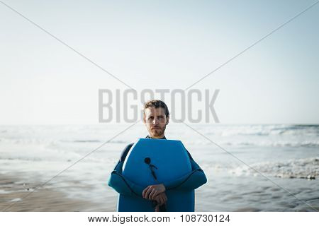 Man Portrait With Bodyboard After Surfing