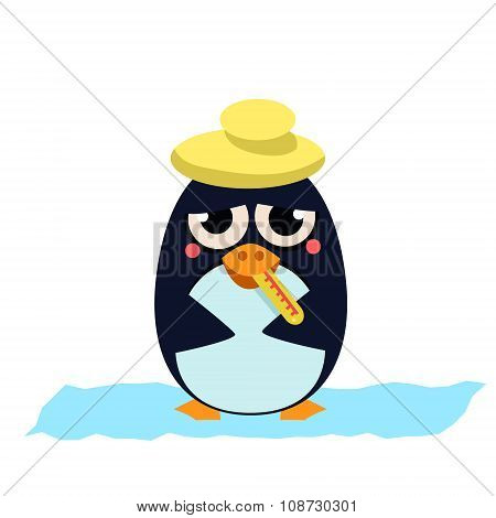 Sick Penguin with Thermometer. Vector Illustration