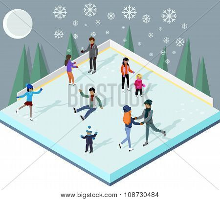 Ice Rink with People Isometric Style