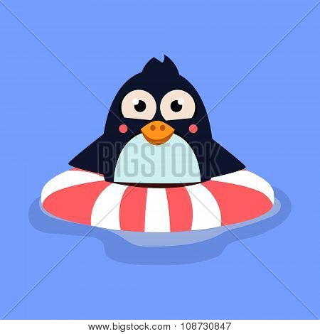Funny Swimming Penguin with Lifebuoy. Vector Illustration