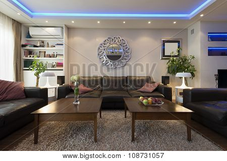Luxury Living Room With Led Ceiling Lights