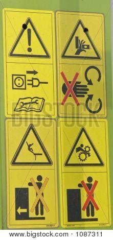 Hazard Signs On Baler