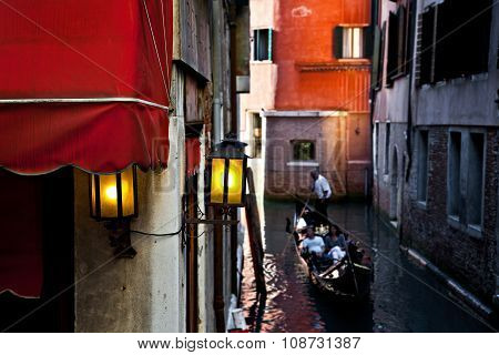 Couple in a gondola in Venice, Italy
