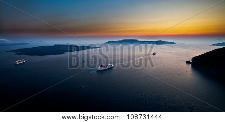 Cruise ships among scenic seascape of Cyclades