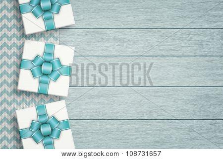 Elegant Gifts Lying On Zigzag Tablecloth