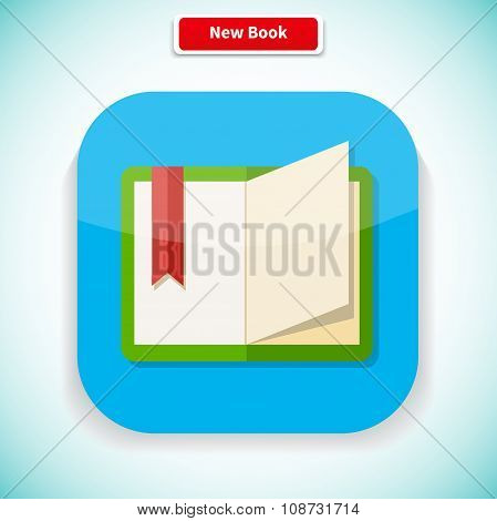 New Book App Icon Flat Style Design