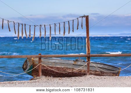 Drying Squid With Rowing Boat