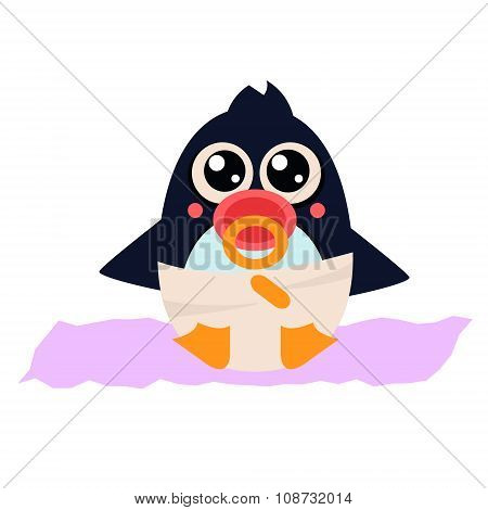 Penguin Baby in Pampers with a Nipple. Vector Illustration