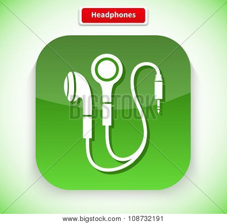 Headphone App Icon Flat Style Design