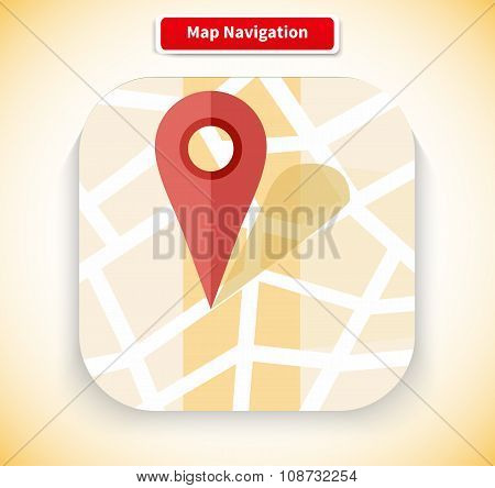 Map Navigation App Icon Flat Style Design