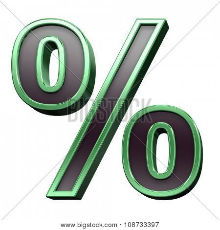 Percent sign from black with green shiny frame alphabet set, isolated on white. Computer generated 3D photo rendering.