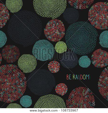'Be Random!' postcard. Colorful seamless backdrop.