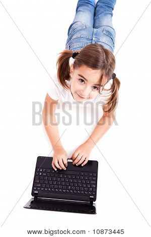 Little Student Girl With A Laptop