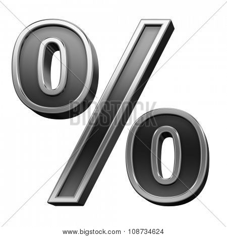 Percent sign from black with silver shiny frame alphabet set, isolated on white. Computer generated 3D photo rendering.