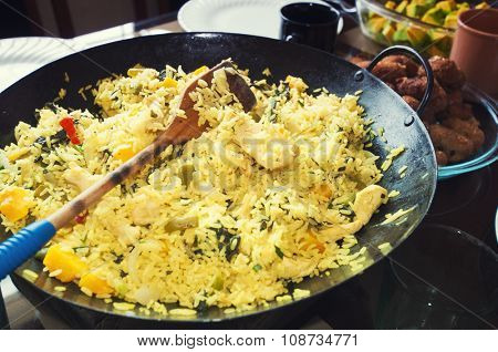 Cuban Paella - traditional rice dish with meat and vegetables