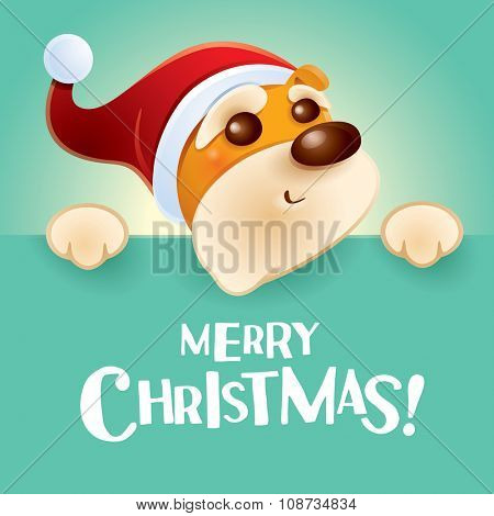 Merry Christmas! Christmas puppy with big sign.