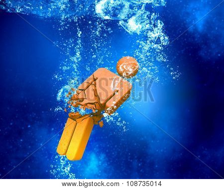 Male figure sinking and dissolving in clear blue water