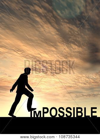 Concept conceptual 3D human man or businessman as black silhouette stepping over impossible or possible text at sunset