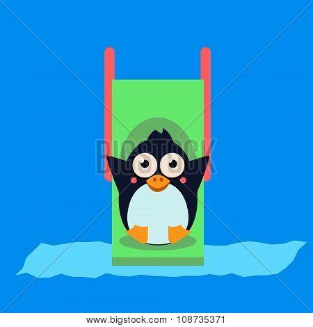 Penguin Riding a Roller Coaster. Vector Illustartion
