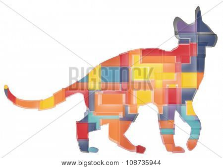 Colourful abstract mosaic design of a domestic cat