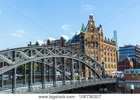 HAMBURG, GERMANY - MAY 4, 2014: Brooks Bridge at the speicherstadt in hamburg