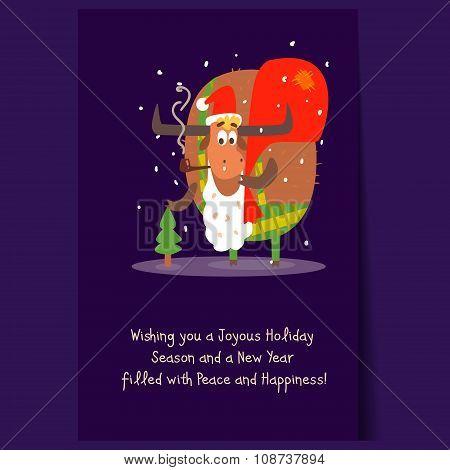 Santa Bull with Beard and Sack. Christmas Vector