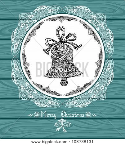 Christmas Bell in circle  in Zen-doodle style with lace on blue wood background