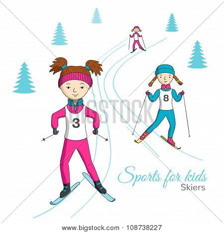 Sports For Kids. Skiers.