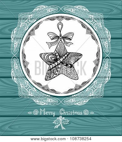 Christmas Star in circle  in Zen-doodle style with lace on blue wood background
