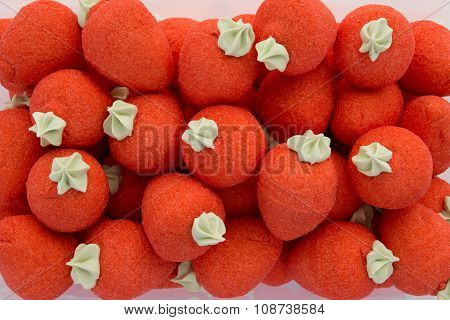 Red Strawberries Bonbons On White Background