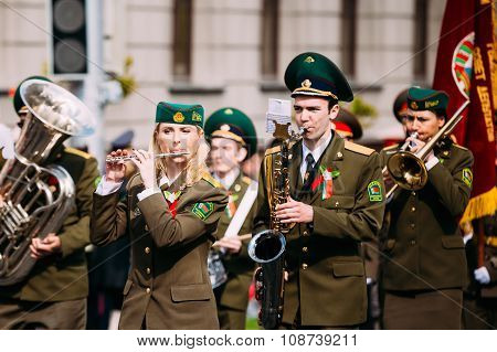 Orchestra of the Border Troops participating in the parade dedicated to the Victory Day - the 70th a