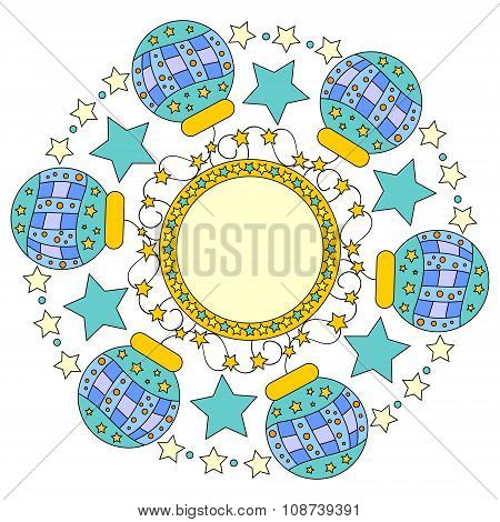 christmas ornament with baubles and stars