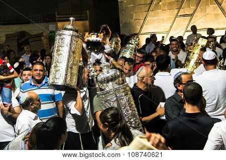 Unidentified Jewish People On Ceremony Of Simhath Torah With Chuppah . Tel Aviv.