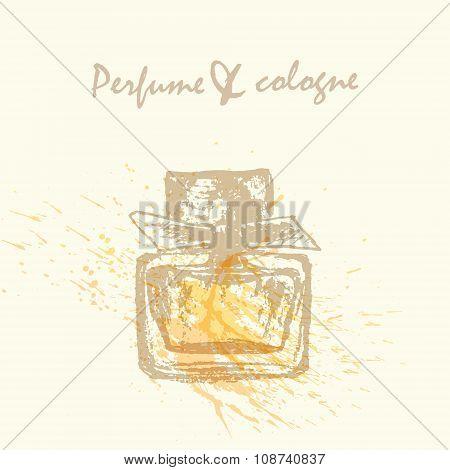 Vector Perfume Bottle Flyer With Paint Splash