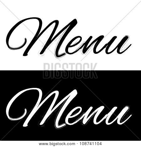 Menu on a black and white background