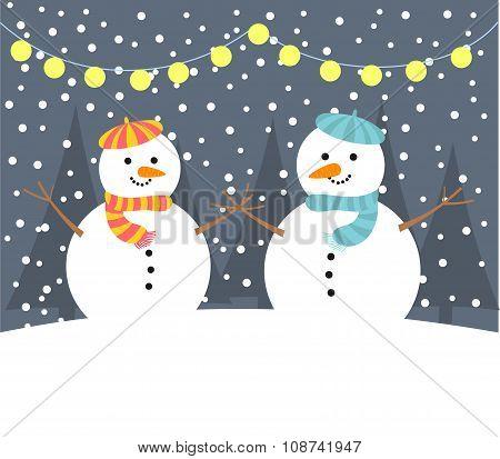 Snowman In Night
