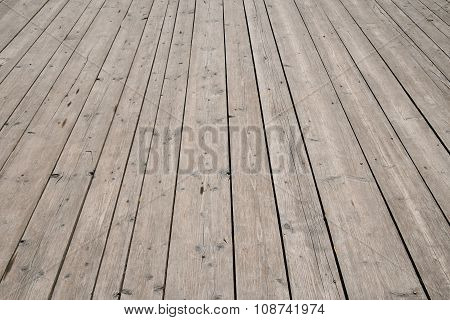 Vintage Wooden Surface With Planks And Gaps In Perspective