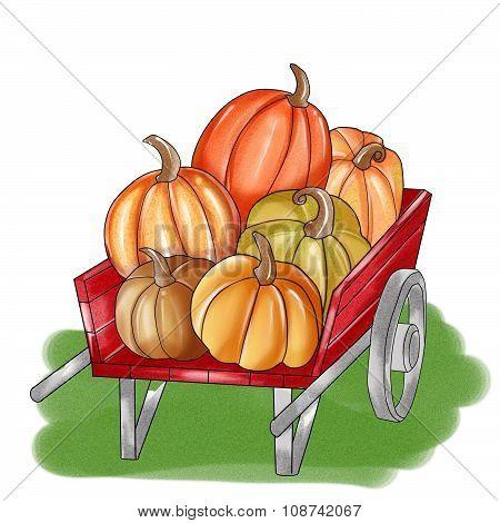 Watercolor illustration - pumpkins on a handcart