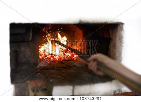 fire in the Russian traditional stove