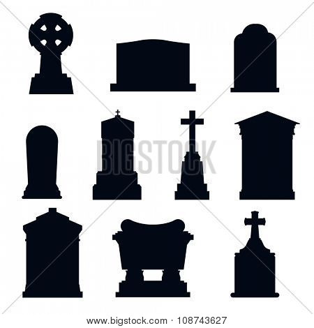 Tombs stone grave vector construction black and white icons. Vector tombs icons isolated. Tombs stone grave for dead people. Traditional tombs stone graves from different country. Tombs illustration