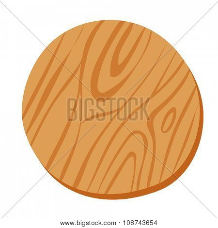 Wooden cutting pizza vector board isolated on white background. Pizza or food wooden board. Pizza cut board. Food board illustration isolated on white