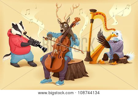 Musician cartoon animals. Vector illustration.