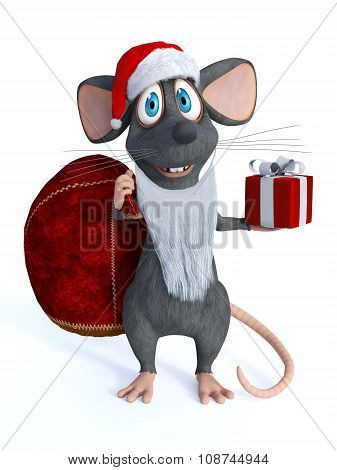 Smiling Cartoon Mouse Dressed As Santa.