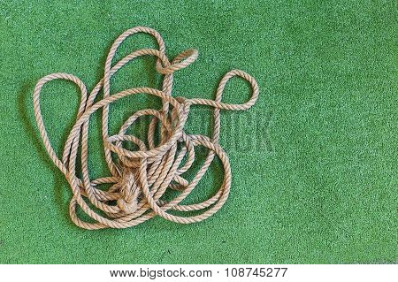 thick tangled rope on the playing field